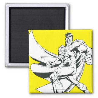 Superhombre 2 blancos y negros imán cuadrado