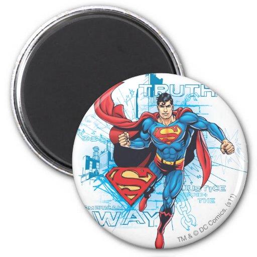 Superhombre con el logotipo iman para frigorífico
