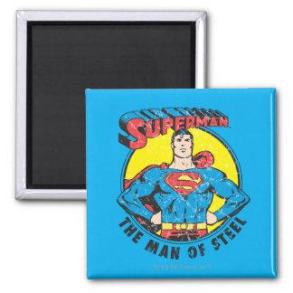 Superhombre el hombre de acero imán cuadrado
