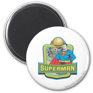 Superhombre - planeta diario imán redondo 5 cm