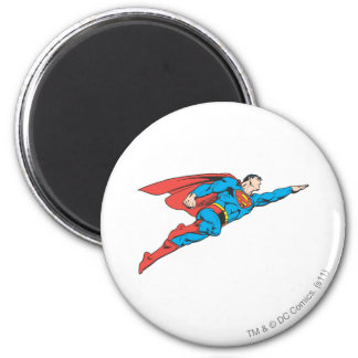 Superhombre que vuela a la derecha imán redondo 5 cm