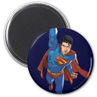 Superhombre que vuela adelante imanes para frigoríficos