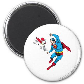 Superhombre y Krypto 2 Imán Redondo 5 Cm