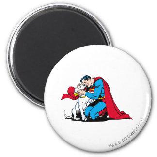 Superhombre y Krypto Imán Redondo 5 Cm
