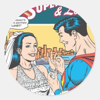 Superhombre y Lois cómicos Pegatina Redonda