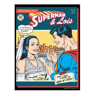 Superhombre y Lois cómicos Postal