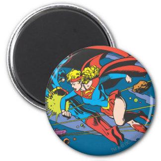 Superhombre y vuelo de Supergirl Imán Redondo 5 Cm