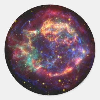 Supernova de la galaxia de Cassiopeaia Pegatina Redonda