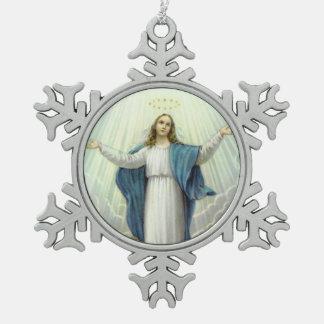 Suposición del Virgen María bendecido Adorno De Peltre Tipo Copo De Nieve