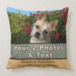 Sus 2 imágenes, texto personalizaron las almohadas