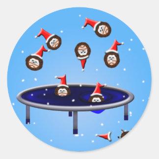 sus erizos trampolining del navidad del tiempo pegatina redonda