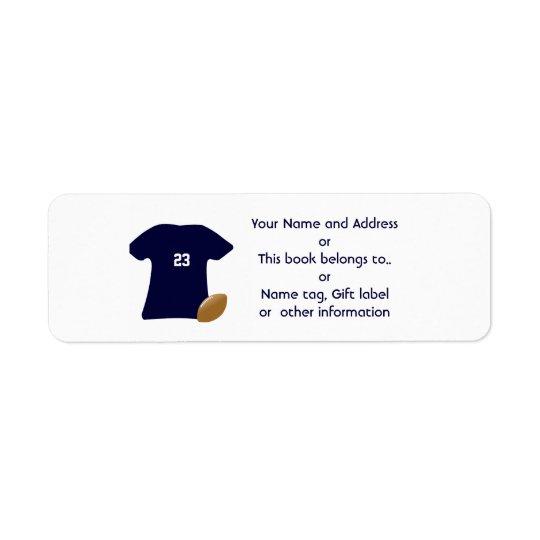 Sus etiquetas del remite de la camisa del fútbol etiqueta de remitente