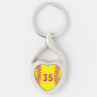Sus llaveros del softball del corazón del número