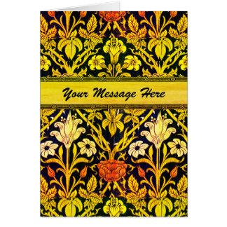 Sus palabras en floral retro del oro tarjeta de felicitación