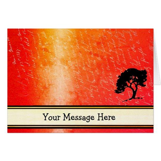 Sus palabras en resplandor anaranjado con la tarjeta de felicitación