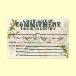 Commitment Ceremonies, Vow Renewal Certificates