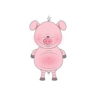 Cute Cheerful Pink Pig Cartoon