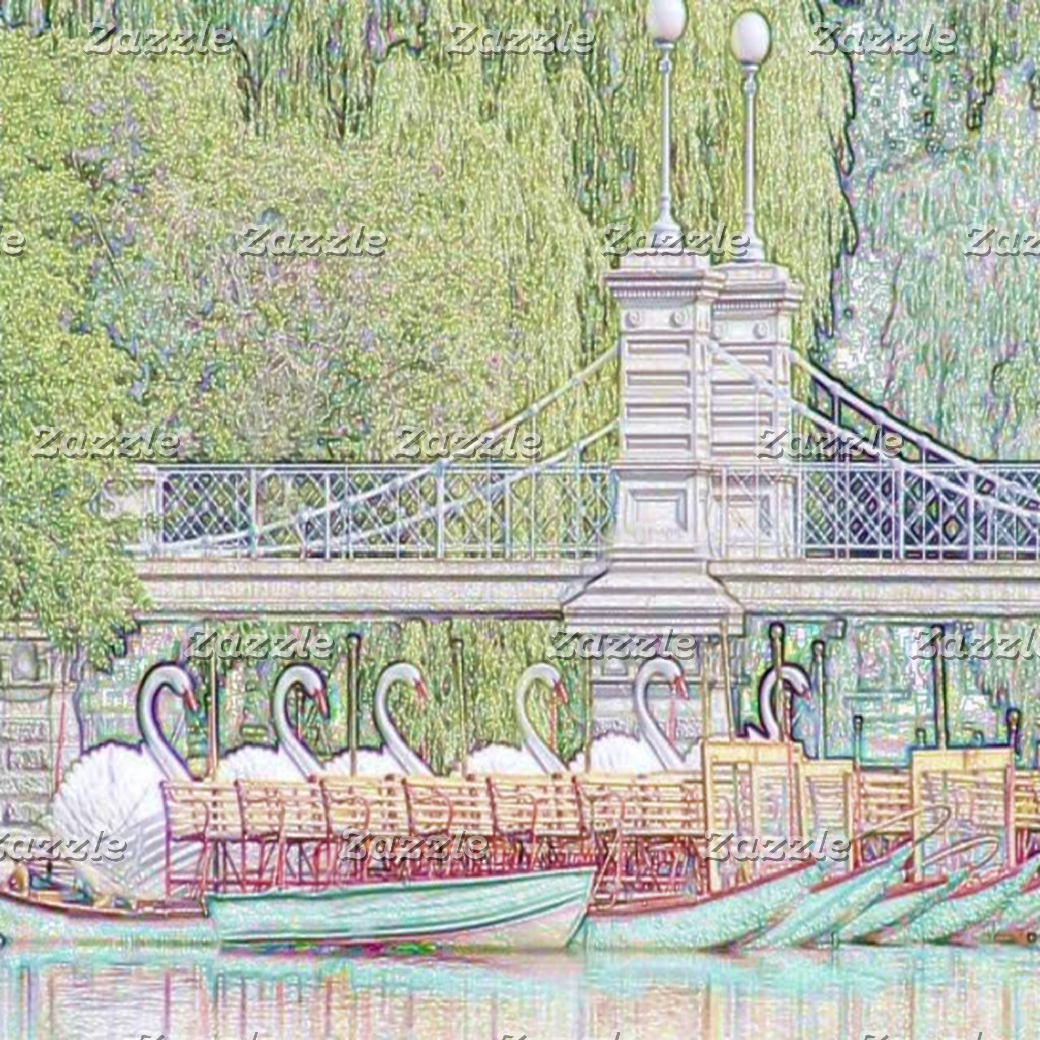 Boston Swan Boats Pencil and Ink