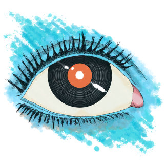 Musical vision: eye illustration with vinyl record
