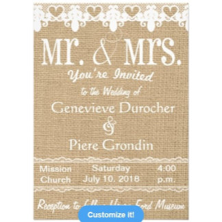 Burlap and Lace Mr. and Mrs. Wedding Invitations