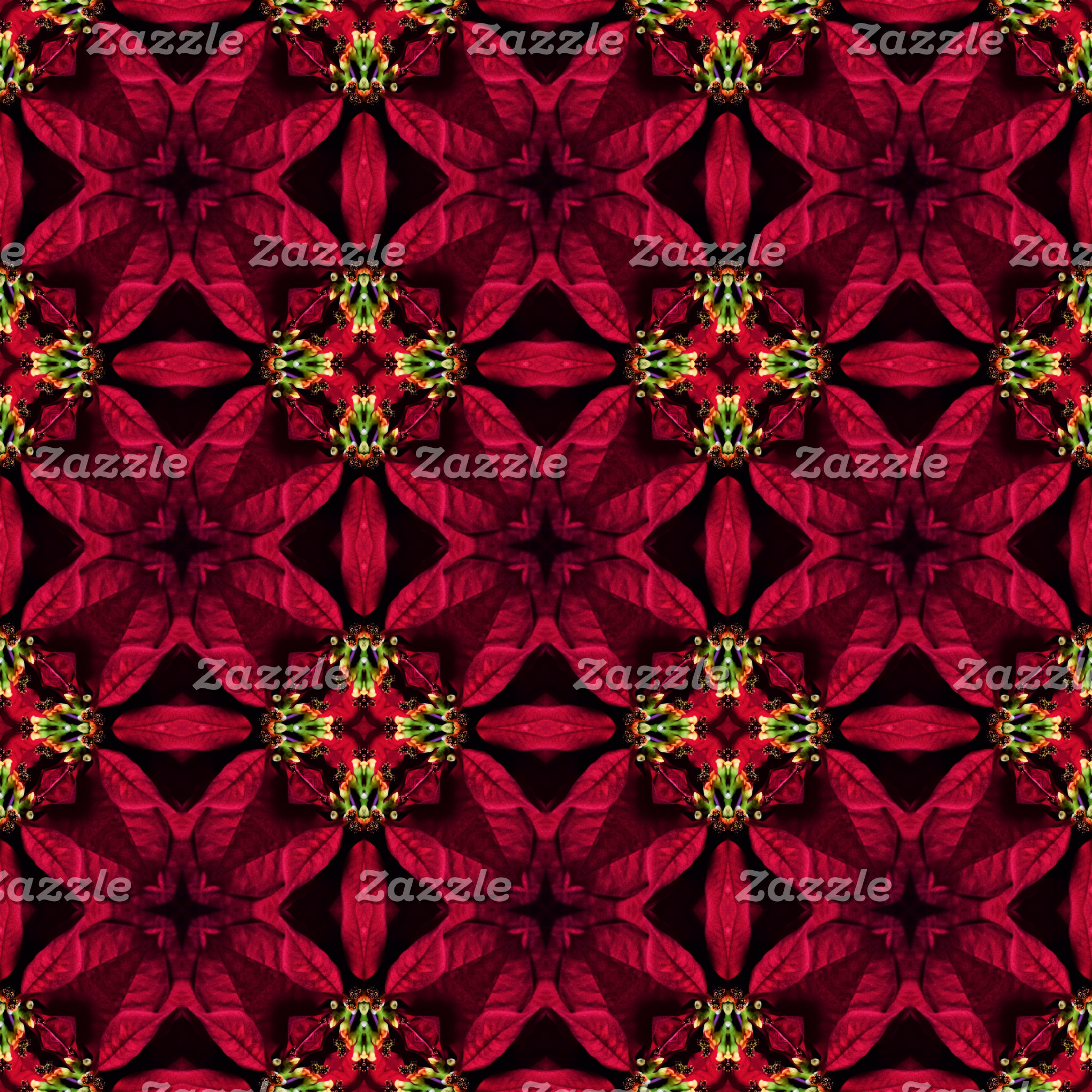 Red Poinsettias Abstract 2