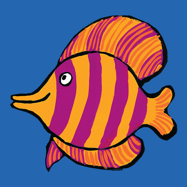 Orange and Purple Tropical Fish with Seahorses