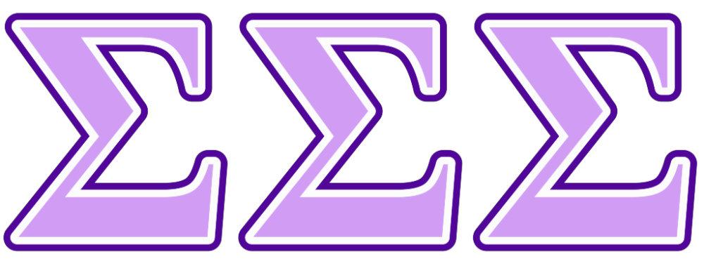 Sigma Sigma Sigma Purple and Lavender Letters