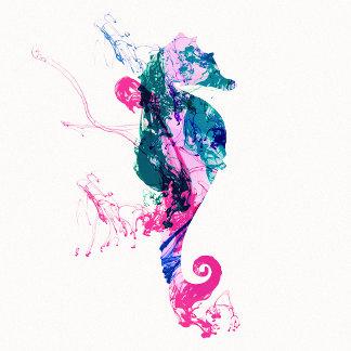 Colorful Watercolor Sea horse Pink Blue Splatters