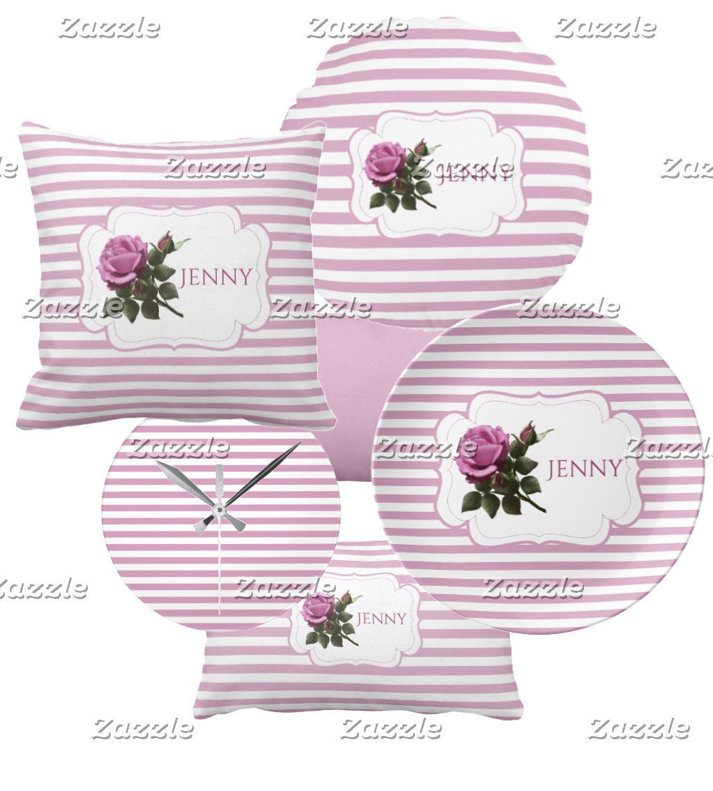 Shabby Chic Cottage Striped Magenta Rose Flower