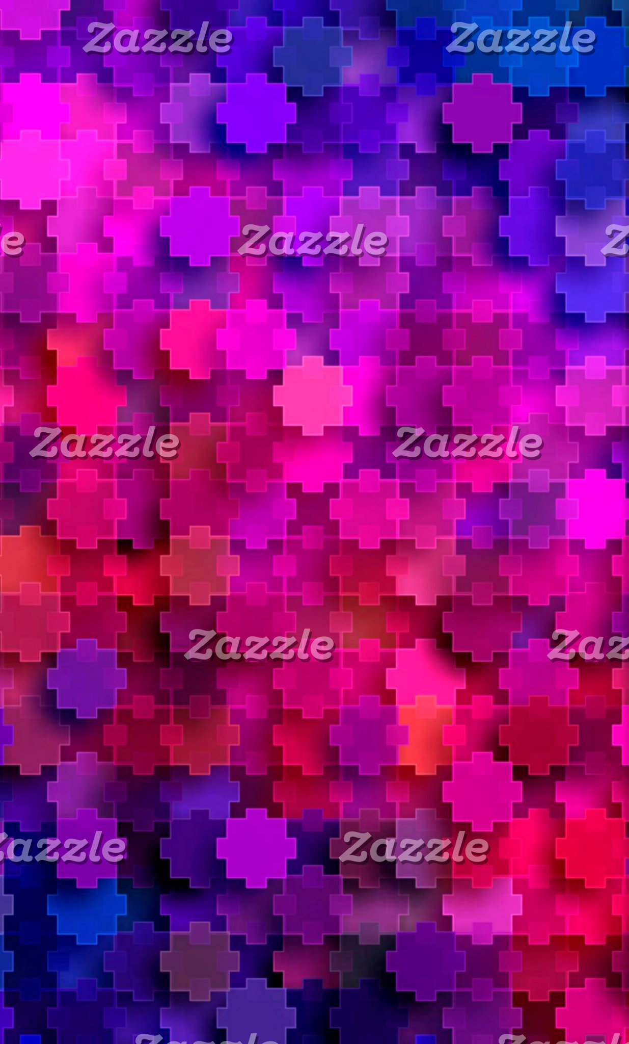 Pink and Blue Square Puzzle Pieces Pattern
