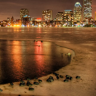 Ice partially melted on Charles River in Boston