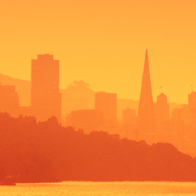 Bright San Francisco sunset.