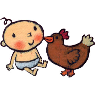 Cute Brown Chicken Peck on the Cheek for Baby