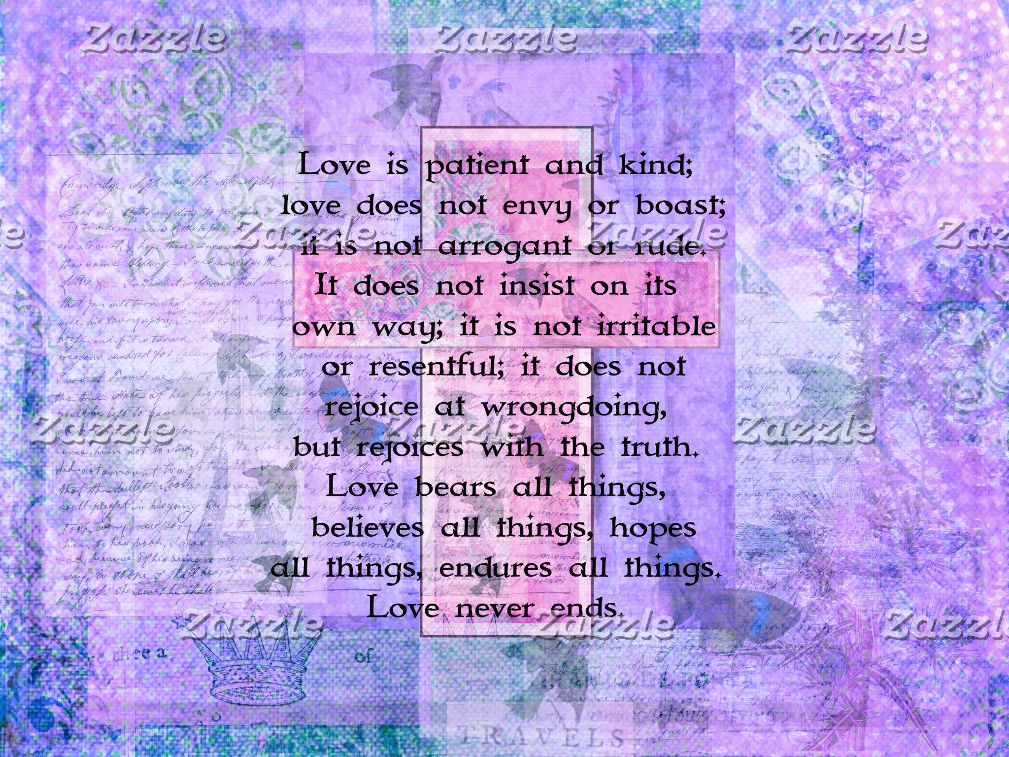 1 Corinthians 13:4-8  pink cross