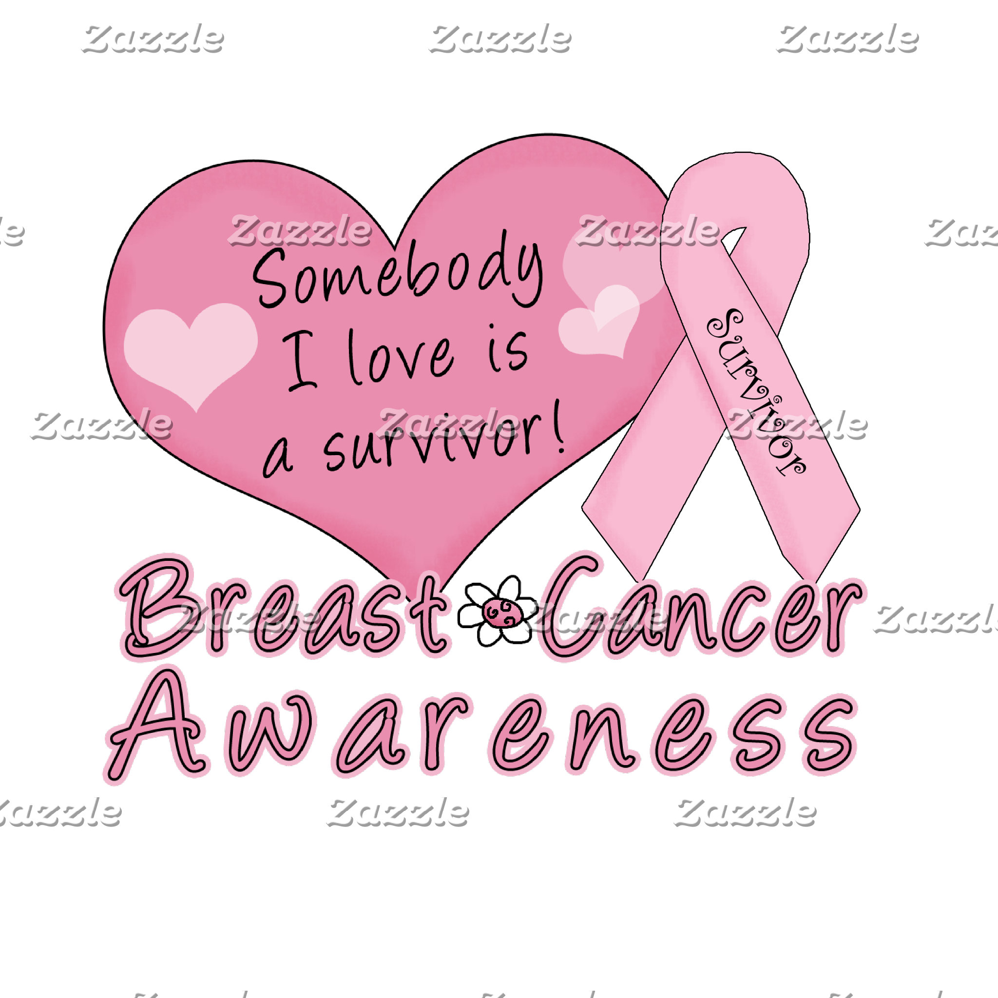 Pink Heart and Ribbon Survivor