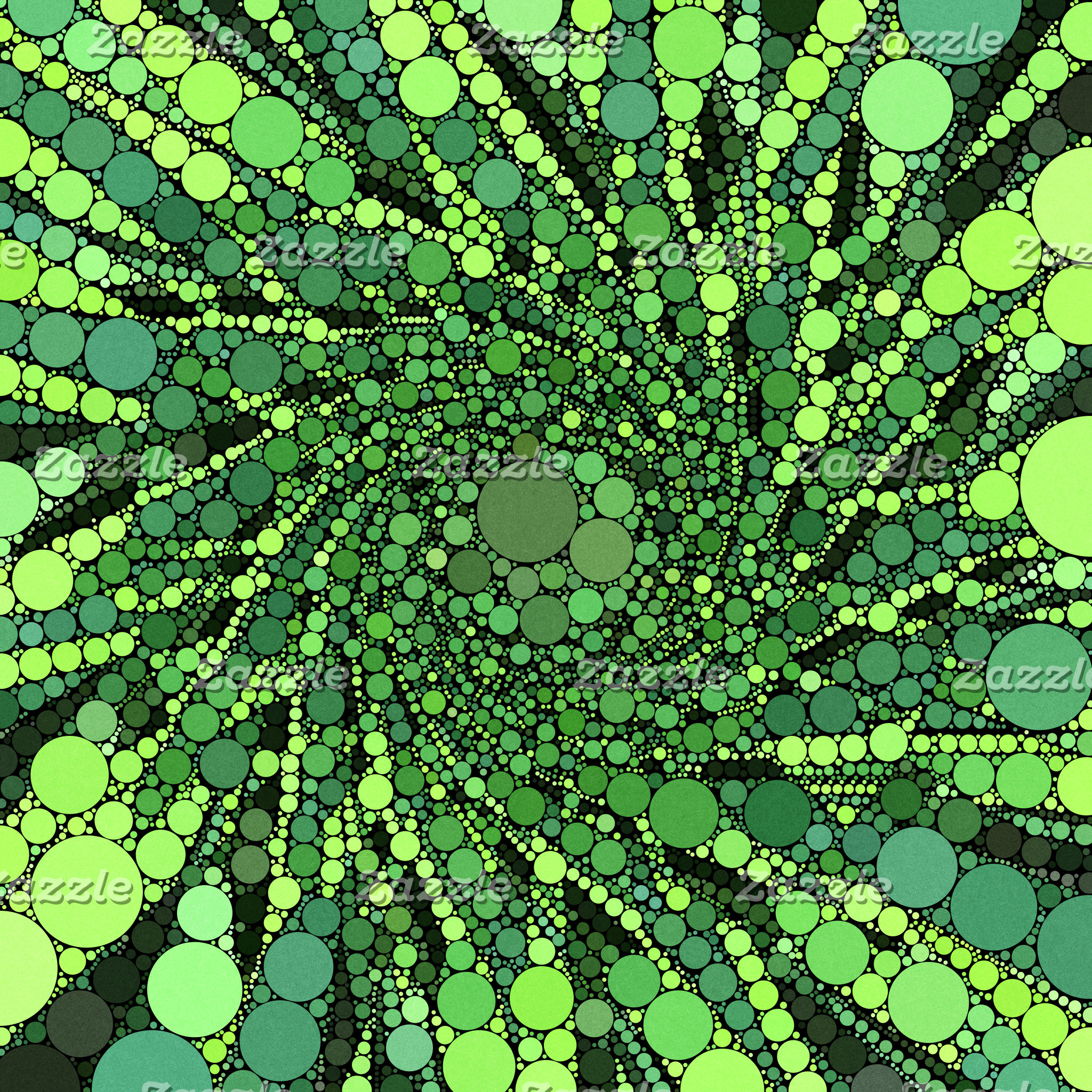 Geometric Patterns | Green Black Circles