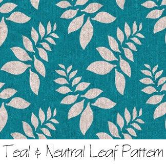 Teal & Neutral Leaf Pattern