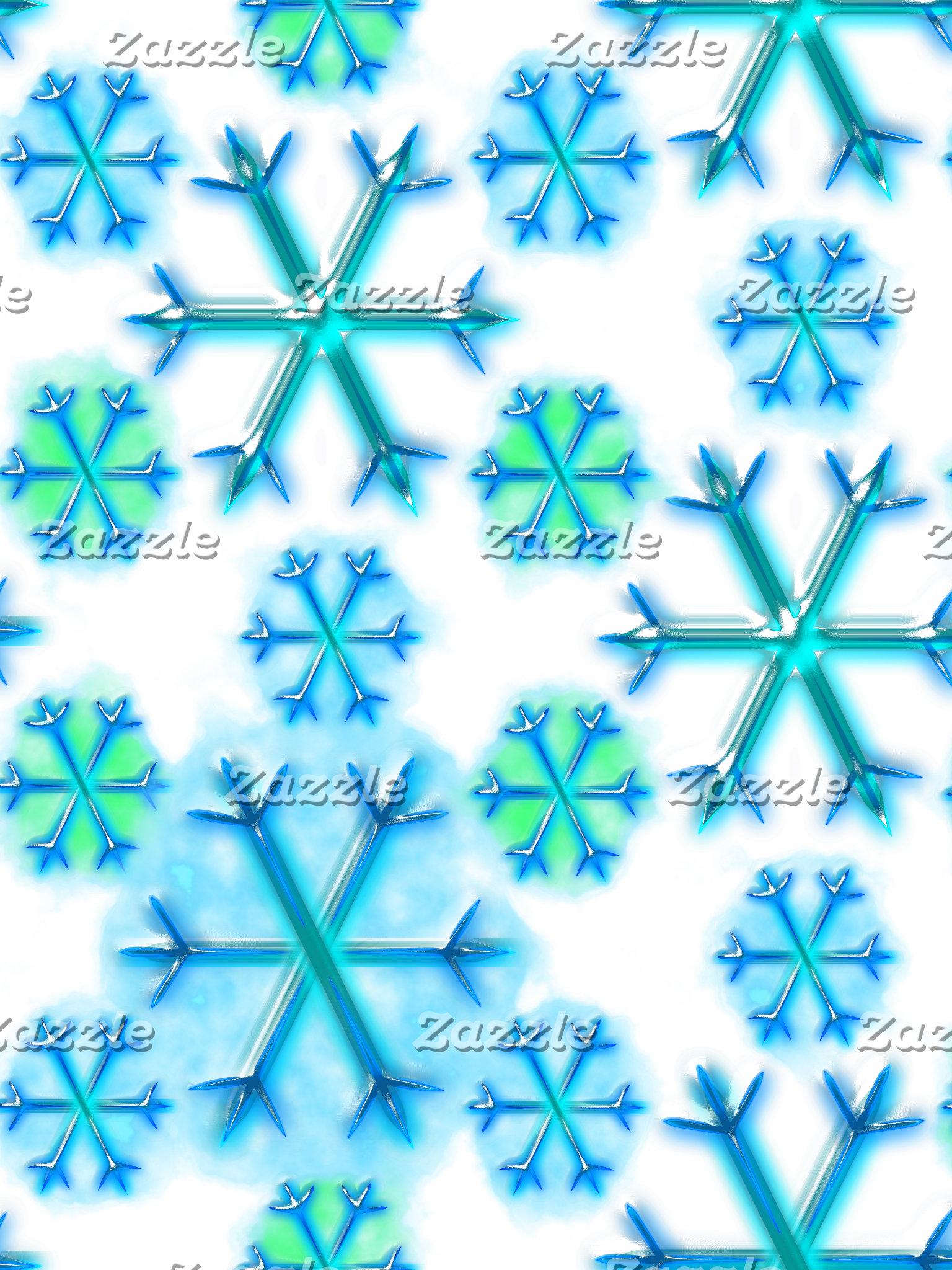 Blue and White Snowflake Hexagon Pattern
