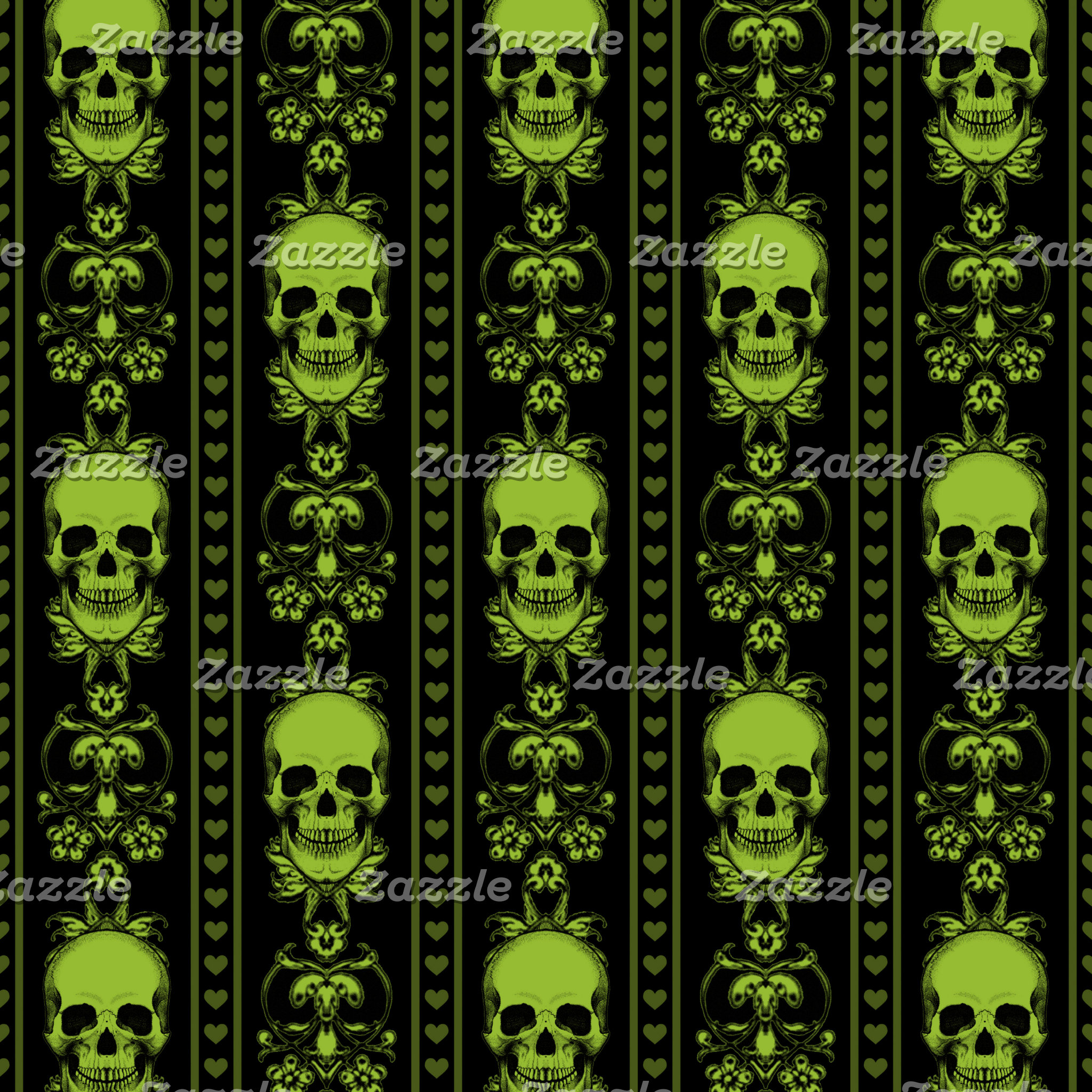 Baroque Skull Stripe Pattern Green Black