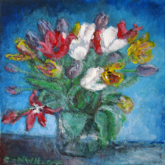 Blue Room with Tulips Bouquet in a Vase