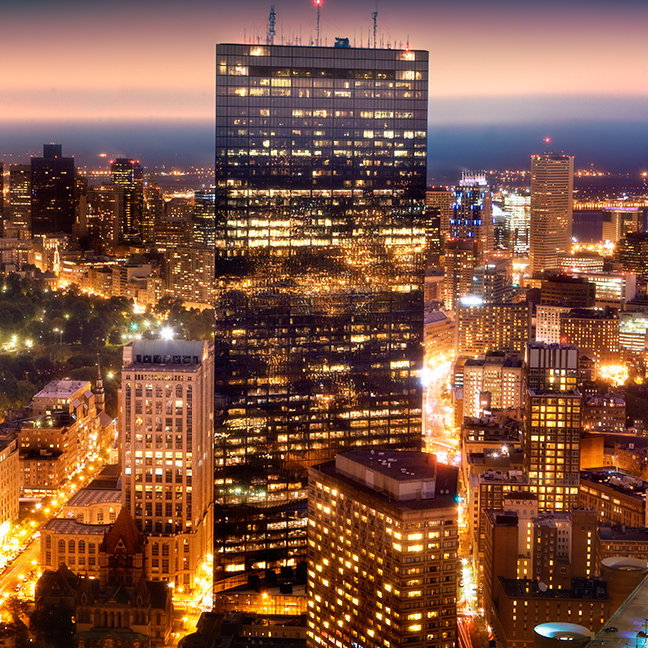 Overview of Boston at night