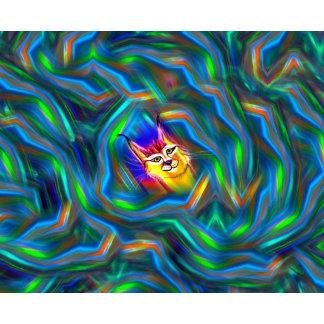 Psychedelic Colour Flow Lynx Portrait