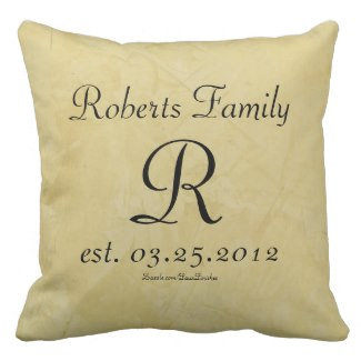 Faux Leather Monogram Anniversary Throw Pillows