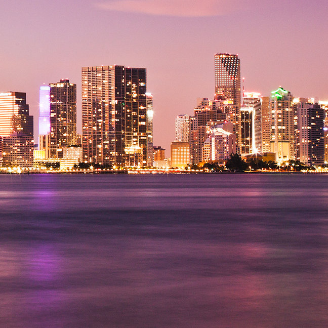 Downtown Miami and Biscayne Bay at dusk, Miami
