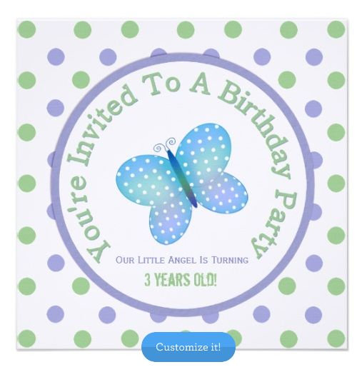 Butterfly And Polka-dot Invitation