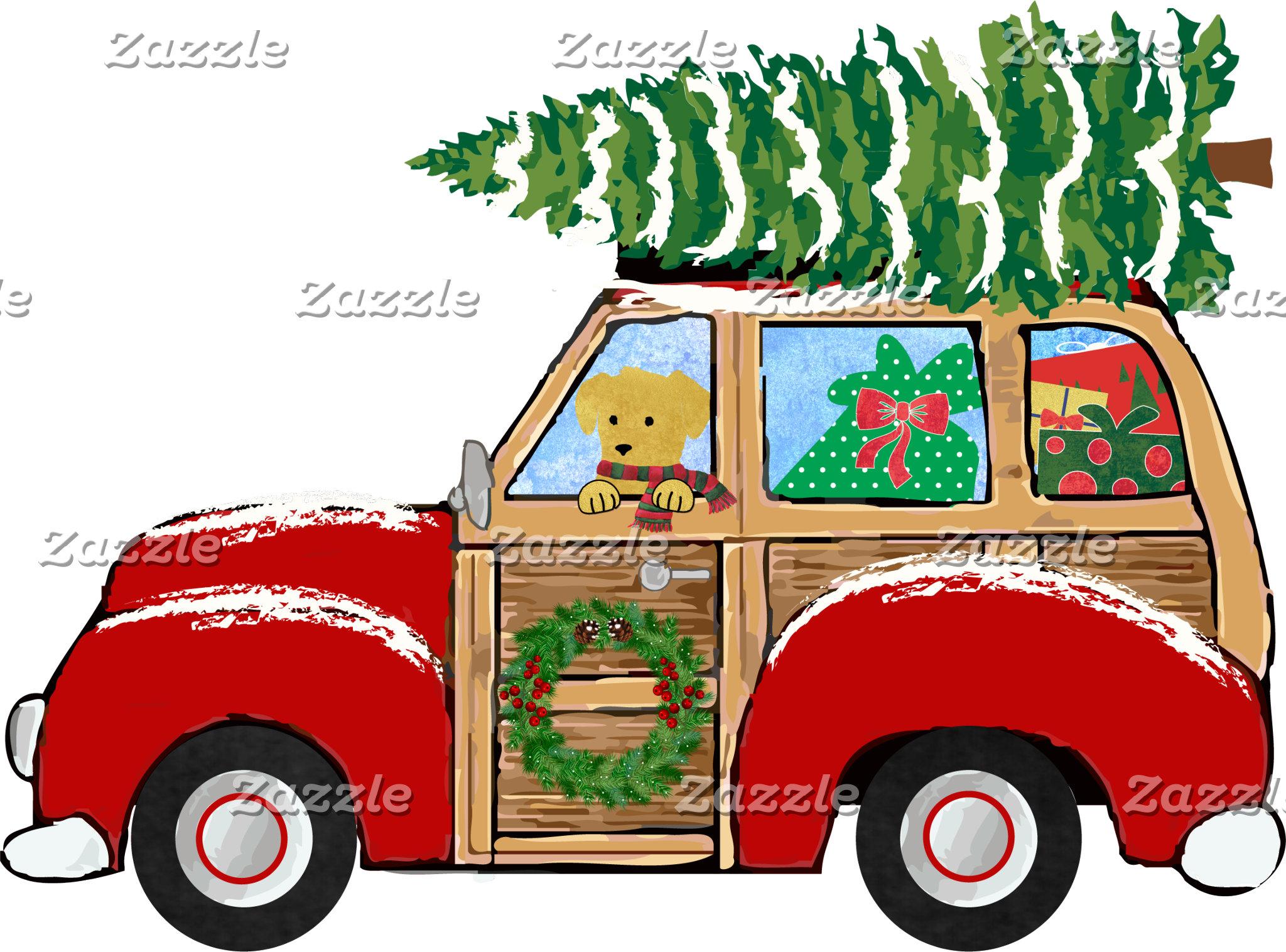 Vintage Christmas Woody Wagon