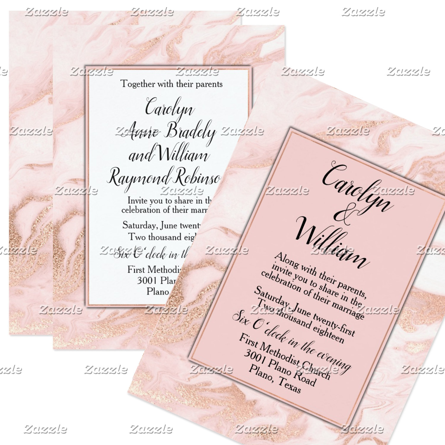 Rose Gold and Blush Marbled Wedding Suite