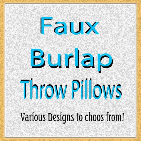 Faux Burlap Design Throw Pillows