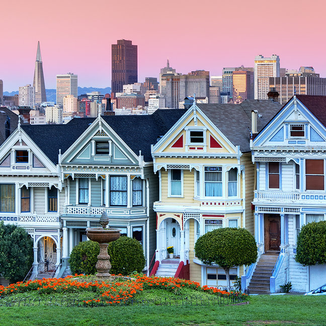 "Famous row of houses known as ""Painted Ladies"""