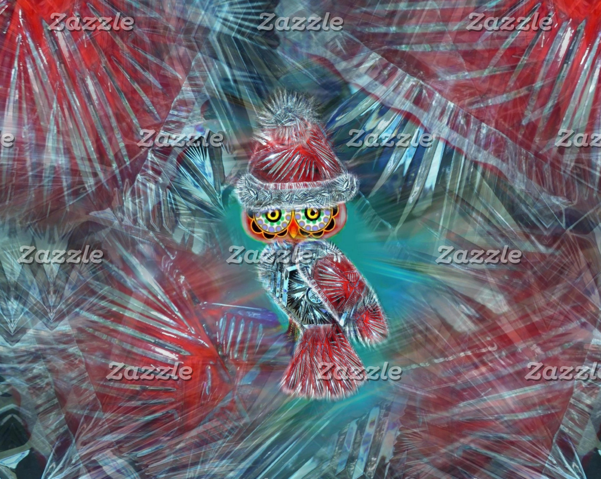 Christmas Glamour Fashion Santa Owl